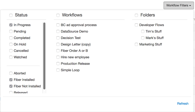 Filtered workflow list