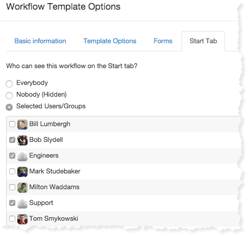 Assigning workflow template users