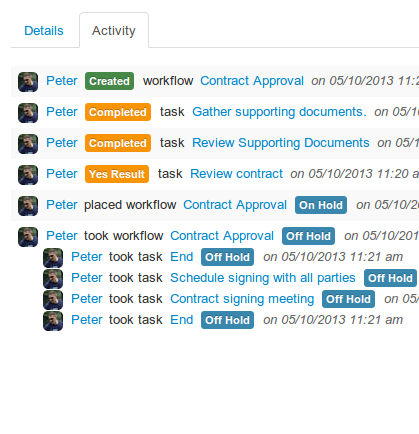 Workflow activity history made easy to view and understand
